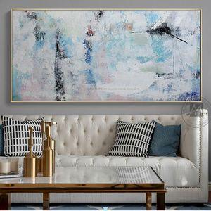 Soyut Boyama Tuval Modern Akrilik Resim Sergisi Mavi El Yapımı Yatay Büyük Tuval Duvar Sanatı Duvar Resimleri Oturma Odası Için