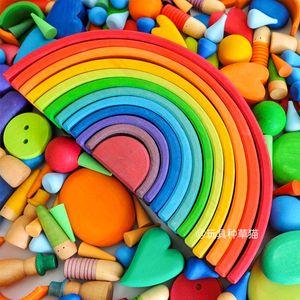 الزيزفون قوس قزح الألمانية بناء كتلة نسخة وطنية تجميعها مع التعليم المبكر الألعاب التعليمية الإضافية الطفل مونتيسوري للأطفال