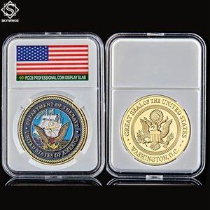 Dipartimento USA della Navy Great Seal American Gold Placcato Gold Challenge Counta Coin Collection Artigianato in metallo con scatola PCCB