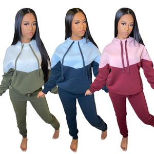 Talla grande 2x mujeres jogger traje otoño invierno ropa deportiva de manga larga chándalsuits con capucha con capucha + pantalones Set de dos piezas Sudaderas causales 4304