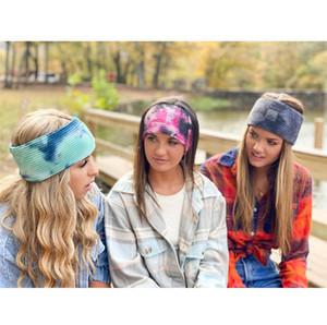 Femmes noteux bandeau teint tricoter bandeau de laine bandeau de queue de queue de queue de poignée de cheveux gradient crochet tête de croche filles turban large tellwear f112706