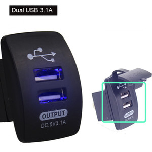 Dual USB Car Charger 3.1A Boat Shaped Motorcycle Boat Bus Double USB Socket Charger For Smart Phone
