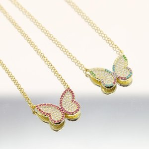 sdzstone Statment multicolor Butterfly Pendant Necklace rainbow CZ Chain for Women Bling link Chain Crystal red Necklace Jewelry