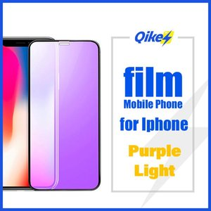 Purple Light Tempered Glass On For iPhone x xr xs max Protective Glass For iPhone 7 8 6 6s plus Full Cover Screen Protector x r