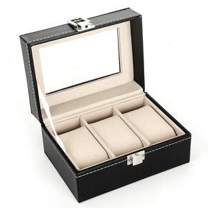 3 Grid Black PU& Wooden Wrist Watch Display Box Jewelry Storage Holder Organizer Case with Window Wholesale GWB3512