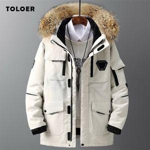 Kış yeni stil erkek ceket rahat pamuk-yastıklı kalın sıcak erkekler ceket kürk yaka kapüşonlu erkek giyim trendy parha coat 201217