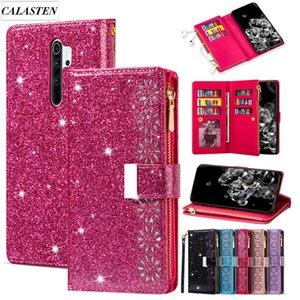 Bling Case For Xiaomi Redmi 8A Note 8 Pro 9 K30 Glitter Zipper Leather Wallet Flip Card Stand Cover For Xiaomi Mi 10 Pro 9 Coque