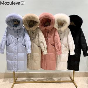 mozuleva Horn Buckle down Jacket Women's Mid-Length over-the-Knee 2020 Winter Fox Fur Collar Korean-Style Thick Hooded Jacket LJ201120