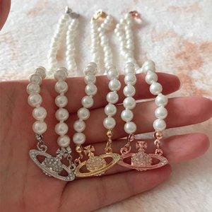 Женские короткие жемчужные спутниковые ожерелье из ожерелья горный хрусталь Орб цепи ключицы ожерелье 3 цвета высокого качества ювелирные изделия 01