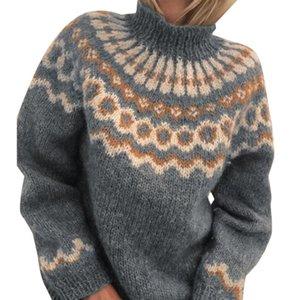 Свитера VICABO для женщин 3XL Стиль Boho Зимняя утолщение с длинным рукавом вязаный свитер Turtleneck Jumper Пуловер