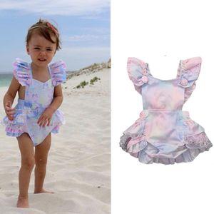 New INS Kids Clothes Baby Rompers Rainbow Jumpsuit Infant Summer Ruffles Sleeveless Girls Oneises Newborn Beach Romper Climb Clothes