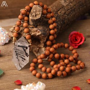 Natural Quartz Crystal Point Pendant Fragrant Sandalwood Wooden Beads Knotted Handmade Necklace For Women Mala Necklace Jewelry