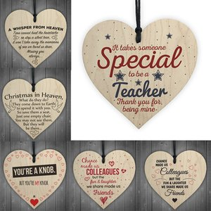 Xmas Wooden Love Decorazioni natalizie regalo Placca Pendente a forma di cuore Lettera Amicizia Vino Bottiglia di vino Decor Pendente Tag 94 P2
