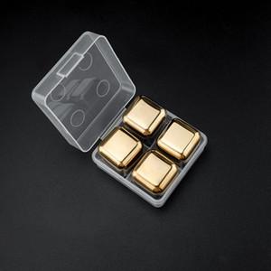 4pcs / 세트 골드 큐브 얼음 냉동 금형 세트 스테인레스 스틸 금속 모델 집게 커피 음료 위스키 바 아이스 와인 돌 크리 에이 티브 용품 DHE3418
