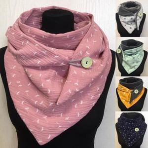 Fashionable Women Casual Printing Scarf Fashion Retro Multi-Purpose Shawl Button Scarf Lightweight Durable Adjustable