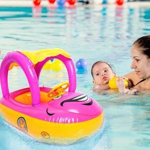 Baby Swimming Ring Cartoon Car Circle Inflatable Mattress Adjustable Sunshade Swim Float Seat Pool Beach Accessories Toys Z1202