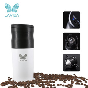 LAVIDA Coffee Maker Machine Portable Electric Mini Coffee Grinder Milling Bean Cup for Camping Kitchen Espresso Machine