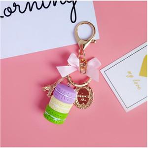 Macaron Cake Key Chain Fashion Cute Keychain Bag Charm Car Key Ring Wedding Party gift Jewelry For Women Men DDA3259