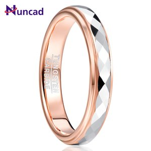 NUNCAD 4mm Tungsten Carbide Ring Surface Polished Rhombus Shaped Batch Rose Gold Plating Side Step Tungsten Steel Wedding Ring Y1128