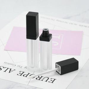 6ML Forma cuadrada Frosted Lip Crush Tube Lip Gloss con tapa negra para aceite de labio / Gloss de labios Embalaje cosmético HWD3125