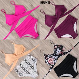 RUUHEE Solid Swimwear Women Bikini Sexy Beach Wear Rose Bikini Set Swimsuit Bandage Bathing Suit Push Up 2020 Swimming Suit J1208
