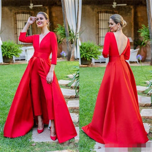 elegant Custom Red Jumpsuits Evening Dresses 2021 with 3 4 Long Sleeves V Neck Backless Sweep Train Formal Prom Party Gowns Pants