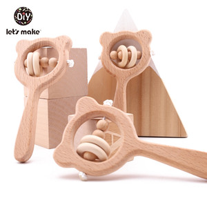 Wooden Rattle Beech Bear Hand Teething Wooden Ring Baby Rattles Play Gym Montessori Stroller Toy Educational Toys