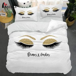 Miracille Eyelash Bed Linen Gold and Black Cute Eyes Pattern Bedding Set Quilt Cover Set 3 Piece Funny Duvet Covers for Home Q1127
