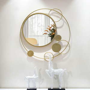 Americano tridimensional creativo porche espejo decoración pared colgando sala de estar pared decorativo oro marco de hierro arte espejo