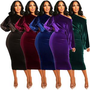 Women Designer Dress 2020 Golden Velvet Slim Sexy Night Club One Shoulder Bubble Sleeve One Step Dresses Ladies New Fashion Skirt