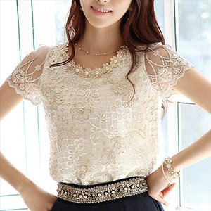 Chiffon Summer 2020 New Korean Flowers Short sleeve Women tops Embroidery Lace blouses shirt Petal Round Neck blusas Mujer 511H3