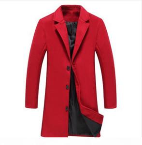 New Men Red Wool Blends Suit Design Wool Coat Men Casual Trench Coat Design Plus Size 5xl Slim Fit Office Suit Jackets