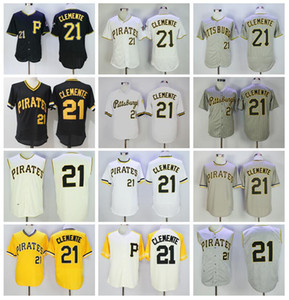 Hommes Baseball Retire 21 Roberto Clemente Jerseys 1960 1962 1971 Vintage Cooperstown Flexbase Cool Base Cool Pullover broderie et cousu