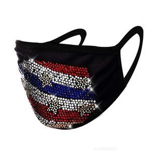 Hearts America Flag Stars Face Masks Fashion Reusable Rhinestone Mascarilla Washable Cloth Respirable Mascherine Black Cycling 8 79jy