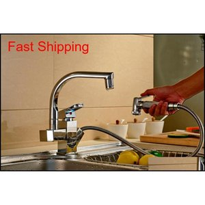 Colore LED Charking Chrome Kitchen Faucet Tirare fuori becco Mixer Qylpsh Five2010