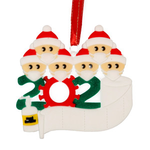 2020 Christmas Quarantine Ornaments Xmas Customized Gift Survivor Family of Hang Decorations Pendant With Face Mask Hand Sanitizer DDC3167
