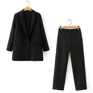 Zxqj elegante chaquetas negras pak 2020 moda mujeres casual conjunto doble vintage hembra delgado blazers largos chics trajes elegantes
