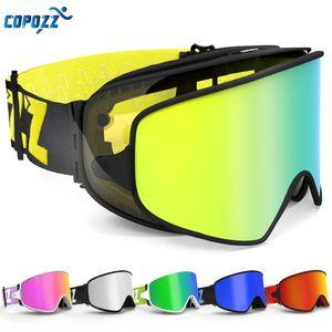 Copozz-Ski-Goggles 2 in 1 mit magnetischem Dual-Use-Objektiv für Nachtski-Anti-Nebel UV400 Snowboard-Goggles Männer Frauen-Skibrillen Q1127