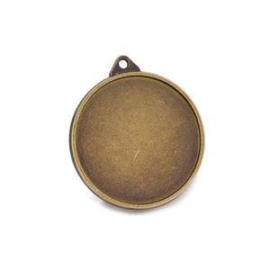 30mm Double-Sided Round Blank Sublimation Pendant Foto fai da te Gioielli Ciondolo Piatto Pendente Portachiavi Accessorio con 2 dischi in vetro HWF3461