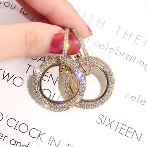 925 silver needle Korean version of the new fashion with drill ear rings, diamonds, geometric circle earrings, Europe, America, simple ear