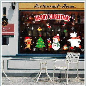 1pcs 45*60cm 2020 New Year Santa Claus Pull Train Glass Window Christmas XMAS Decorations for Home Decorative wall Stickers