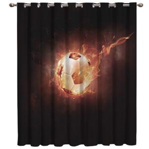 Soccer Curtains Balls Football Flame 3D Window Curtains for Living Room Bedroom Kitchen Cortinas Para Sala De Estar Polyester
