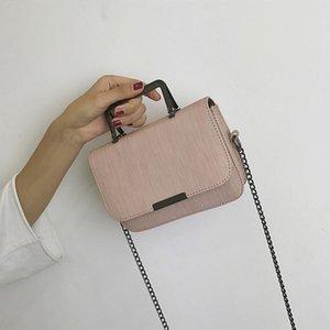 2021 NUEVA Bolsa de cadena de mujeres coreanas Moda Hombro Mensajero Mensajero Pure Color Simple Pequeño Handle Handle Handle Bolso de mujer