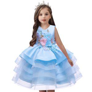 2021 Christmas Children Princess Dress For Girls Tutu Lace Baby Kids Dress For Flower Girls Wedding Birthday Evening Party 1-8Y F1202