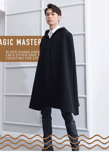 Woolen coat male black British style long Korean style loose hooded wizard hat cloak cloak shawl all-match coat