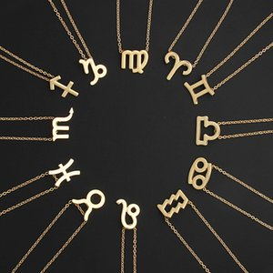 2020 2021 fashion Zodiac 12 Constellation CZ Astrology Zodiac Star Aries Taurus Gemini Cancer Leo Necklace Birthday Gifts for Women Girl
