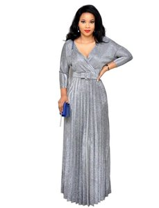 Colorful bronzing cross V-neck pleated skirt mid-sleeve commuter plus size dress with belt