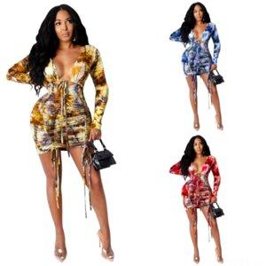 Xnw İki Moda Oymak Uzun Kollu Ekip Stil Splitt Elbise Seksi Setleri Yeni Boyun Bayan Elbise Pasta Elbise Donanma Mavi Giyim Bahar