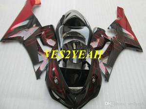 Мотоцикл обтекательный комплект для кузова для Kawasaki Ninja ZX6R 636 05 06 ZX 6R 2005 2006 ABS Red Flame Black Flatings Codework + подарки KK12