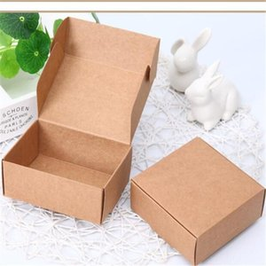 50pcs Small Jewelry Box Brown Kraft Paper Gift Cardboard Box For Packaging DIY Craft Mini Handmade Soap